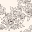 Seamless floral pattern. Background with flowers and leafs. — Vector de stock #6324893