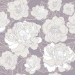 Seamless floral pattern. Background with peonies and cherry blossom flowers — Image vectorielle