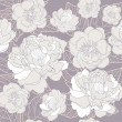 Seamless floral pattern. Background with peonies and cherry blossom flowers — Imagen vectorial