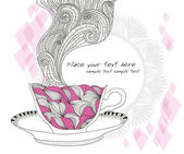 Coffee and tea cup background with abstract doodle pattern. — Vector de stock