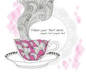 Kaffe och te kopp bakgrund med abstrakt doodle mönster. — Stockvektor