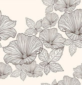 Seamless floral pattern. Background with flowers and leafs. — Stok Vektör
