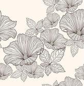 シームレスな花柄。背景の花と葉 — ストックベクタ