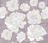 Naadloze bloemmotief. achtergrond met pioenrozen en kersenbloesem bloemen — Stockvector