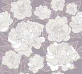 Seamless floral pattern. Background with peonies and cherry blossom flowers — Vecteur
