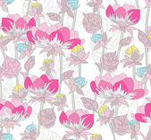 Seamless pink floral pattern. Background with flowers. — Stock Vector