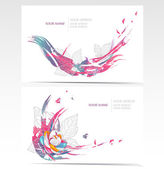 Vector business card set with floral elements. Backgrounds with flowers and — Vecteur