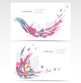Vector visitekaartjes instellen met florale elementen. achtergronden met bloemen en — Stockvector