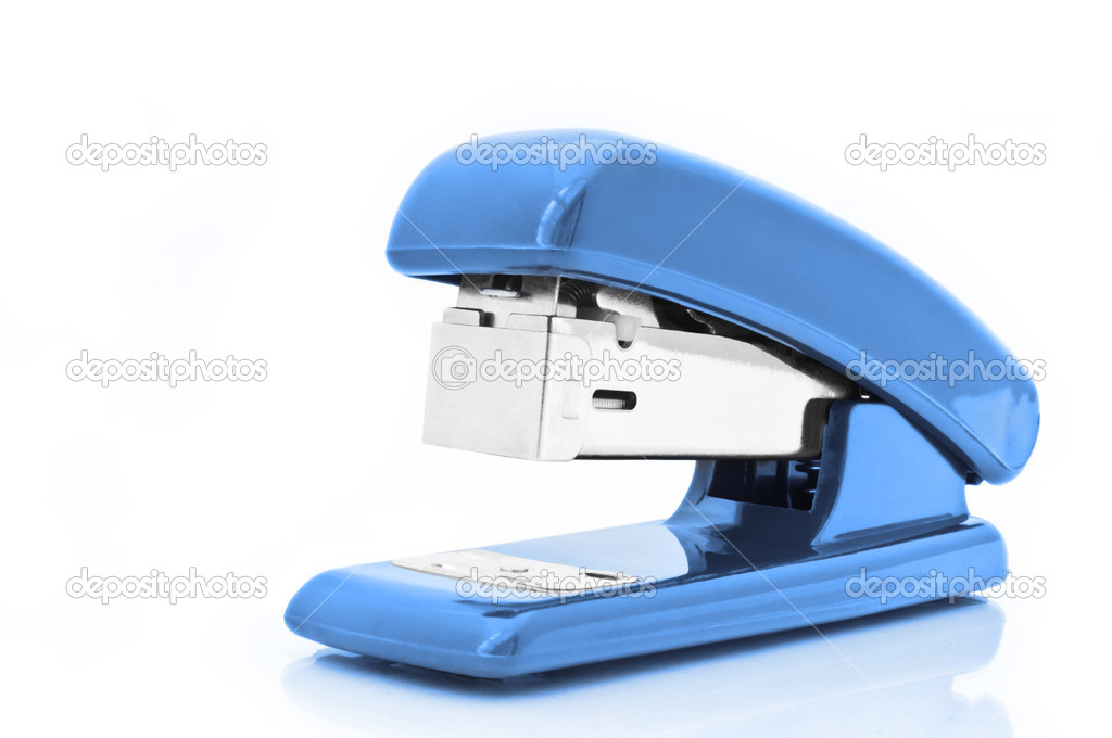 Close up of a single blue office stapler isolated over white — Stock Photo #5387733
