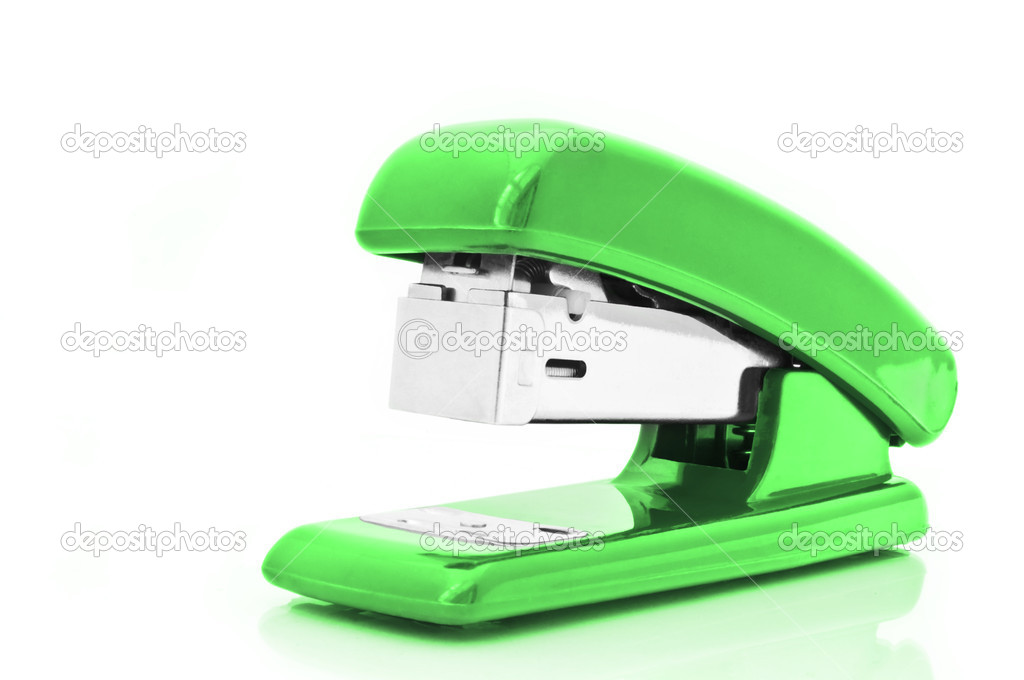Close up of a single green office stapler isolated over white — Stock Photo #5387773