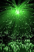 Green fiber optic cascade — Stock Photo