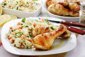 Chicken wiith rice and vegetables — Stock Photo