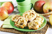 Cakes filled with apples and bananas — Stock Photo
