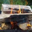 Flaring fire wood for barbecue. — Stock Photo