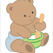 Baby bear mixing food in a hat — Stock Vector #6012236