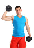Guy with two dumbells — Stok fotoğraf