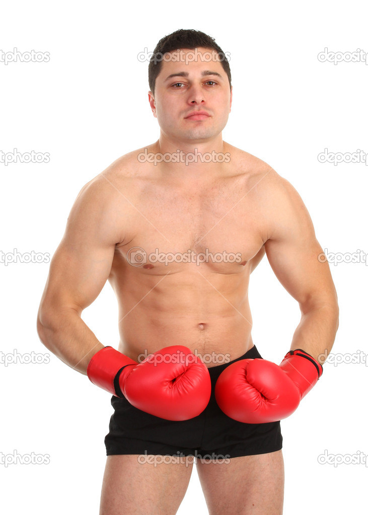 A guy tensing his muscles — Stock Photo #5975556