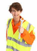 Workman with a spanner — Stock Photo