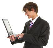 Empresario mediante ordenador — Foto de Stock