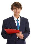 Empresário com prancheta — Fotografia Stock