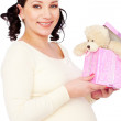 Pregnant woman with toy — Stock Photo
