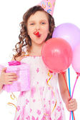 Joyous girl with balloons — Stock Photo