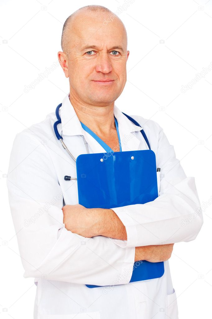 Portrait of senior doctor with report. isolated on white background — Stock Photo #5710169