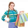 Stock Photo: Happy beautiful woman with shopping bags