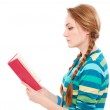 Sideview portrait of reading student — Stock Photo