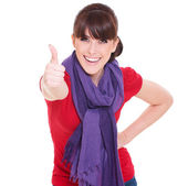 Beautiful woman showing thumbs up — Stock Photo
