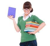 Universiteit meisje bedrijf boeken — Stockfoto