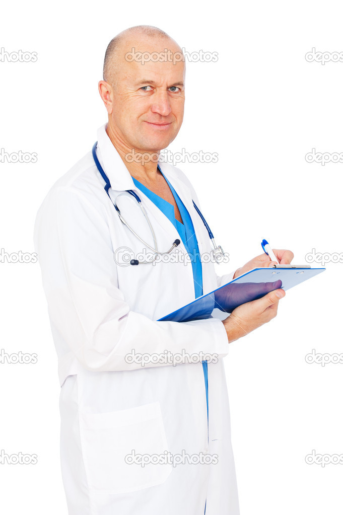 Portrait of senior doctor writing reports. isolated on white background — Stock Photo #5819866