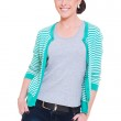 Happy woman in striped jacket — Stock Photo