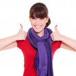 Happy woman showing thumbs up — Stock Photo #6080856