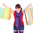 Woman with bright shopping bags — Stock Photo