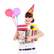 Woman with gifts and balloons — Stock Photo #6080881
