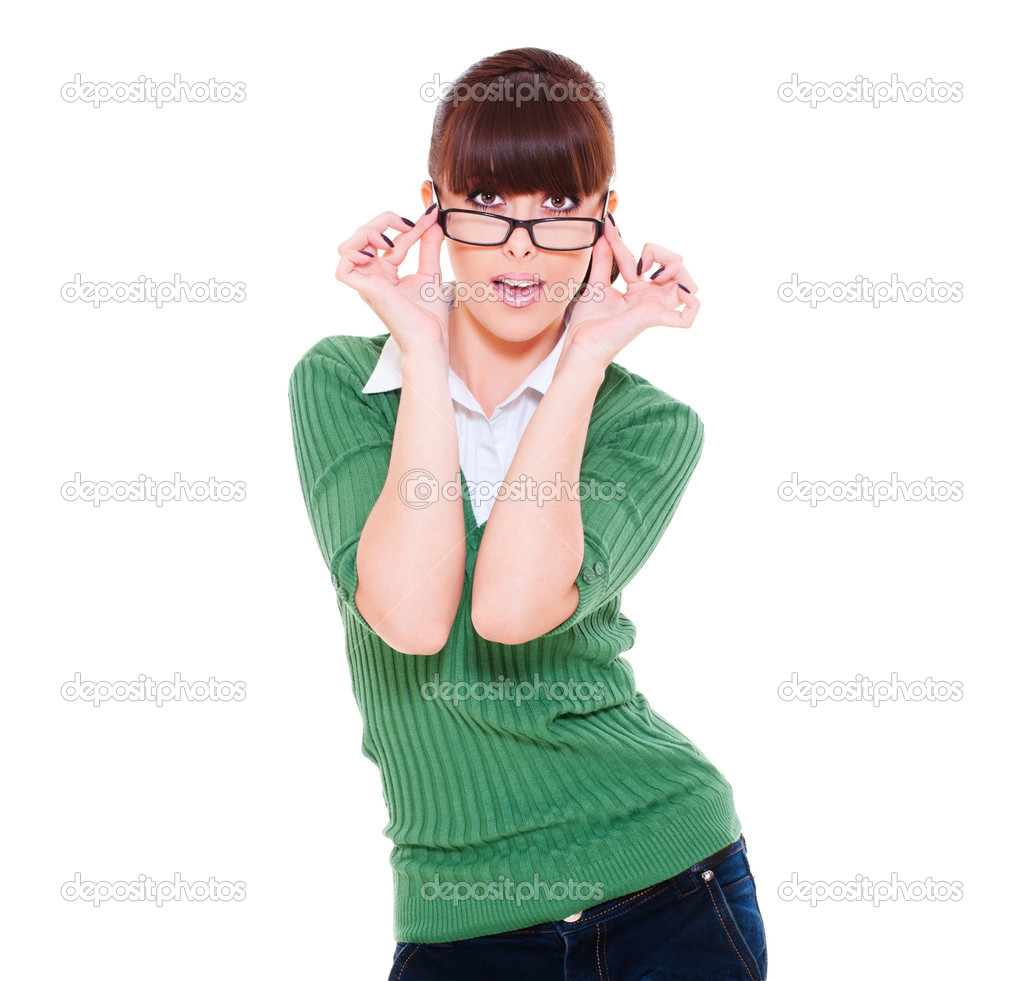 Portrait of amazed woman in glasses. isolated on white background  — Stock Photo #6080837