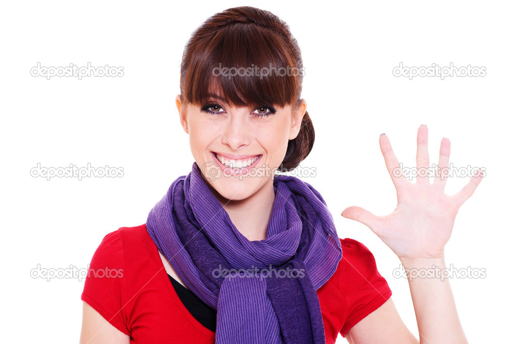 Smiley young woman showing number five. isolated on white background  Stock Photo #6080887