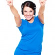 Cheerful young woman in headphones — Stock Photo #6151509