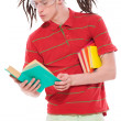 Funny guy with books — Stockfoto