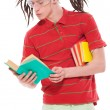 Funny guy with books — Foto Stock