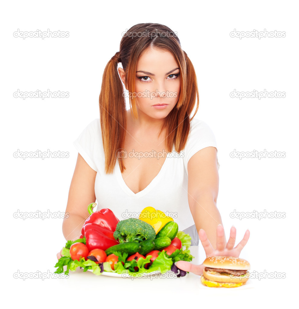 Serious woman don't want to eat junk food. isolated on white background — Stock Photo #6201801