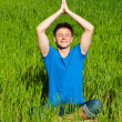 Healthy young man meditation — Stock Photo