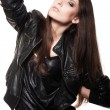 Sexy woman in leather coat — Stock Photo #6275111