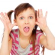 Little funny girl making faces — Stock Photo #6401847