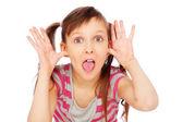Grappig meisje gezichten maken — Stockfoto