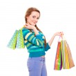 Happy beautiful woman with shopping bags — Stock Photo