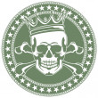 Emblem with  skull and  crown - Imagen vectorial