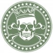 Emblem with  skull and  crown — Imagen vectorial