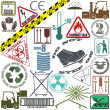 Mega set of warning signs — Stock Vector